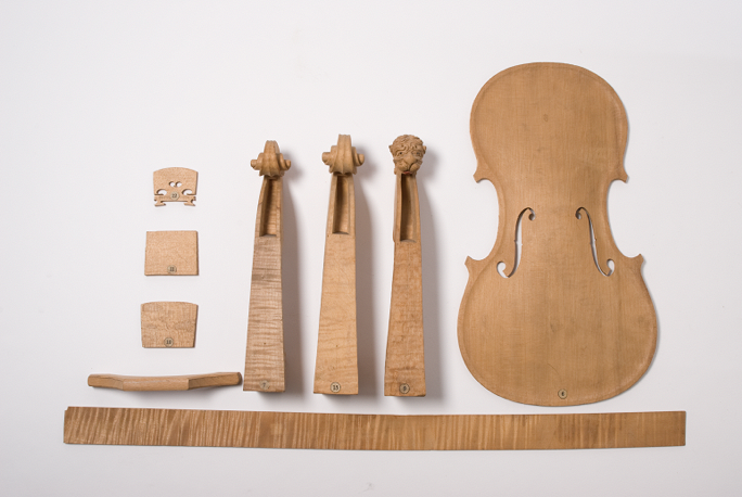 Parts of a violin made from the Norway spruce, donated by Carl von Martius in 1861 (© RBGK)