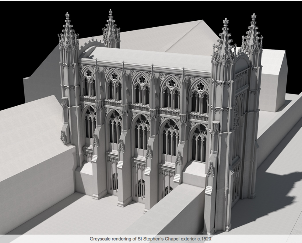 Greyscale rendering of St Stephen's Chapel exterior c. 1520