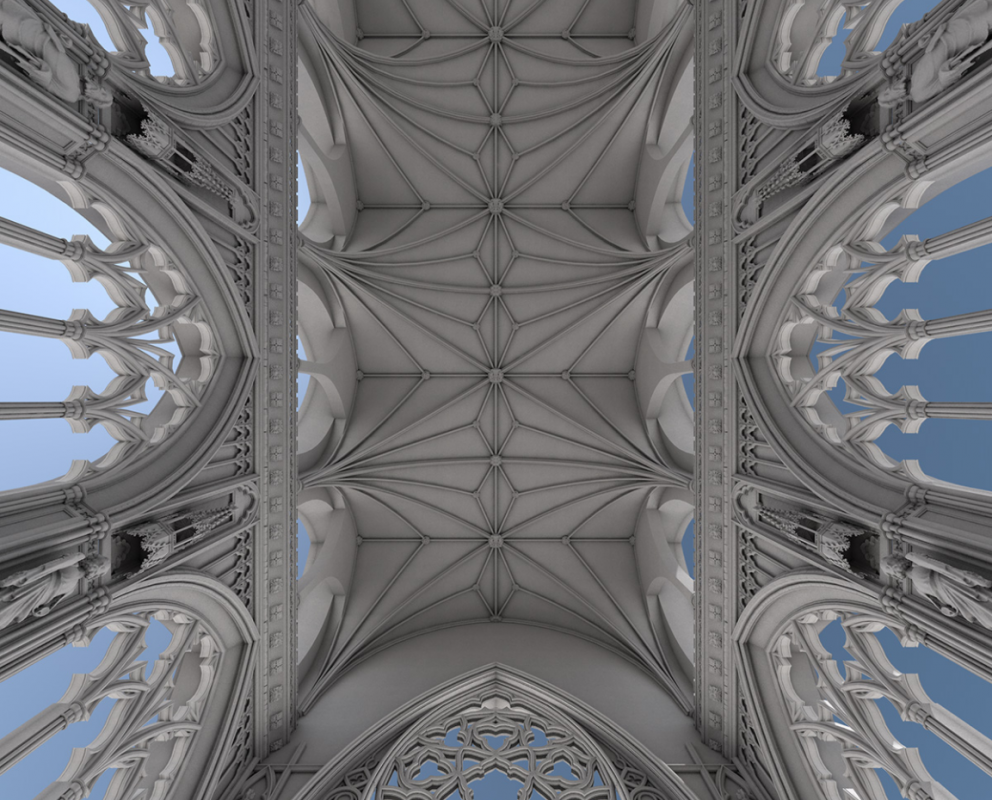 Greyscale rendering of the vaulting of St Stephen's Chapel