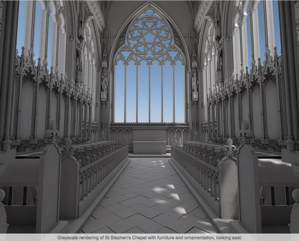 Greyscale rendering of St Stephen's Chapel with furniture and ornamentation