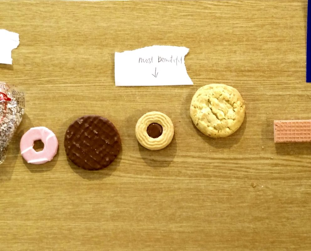 Biscuits on a sliding scale of beauty at Kew Gardens.