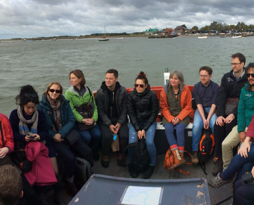 Participants on the ferry to Orford Ness on the Tranformation knowledge exchange.