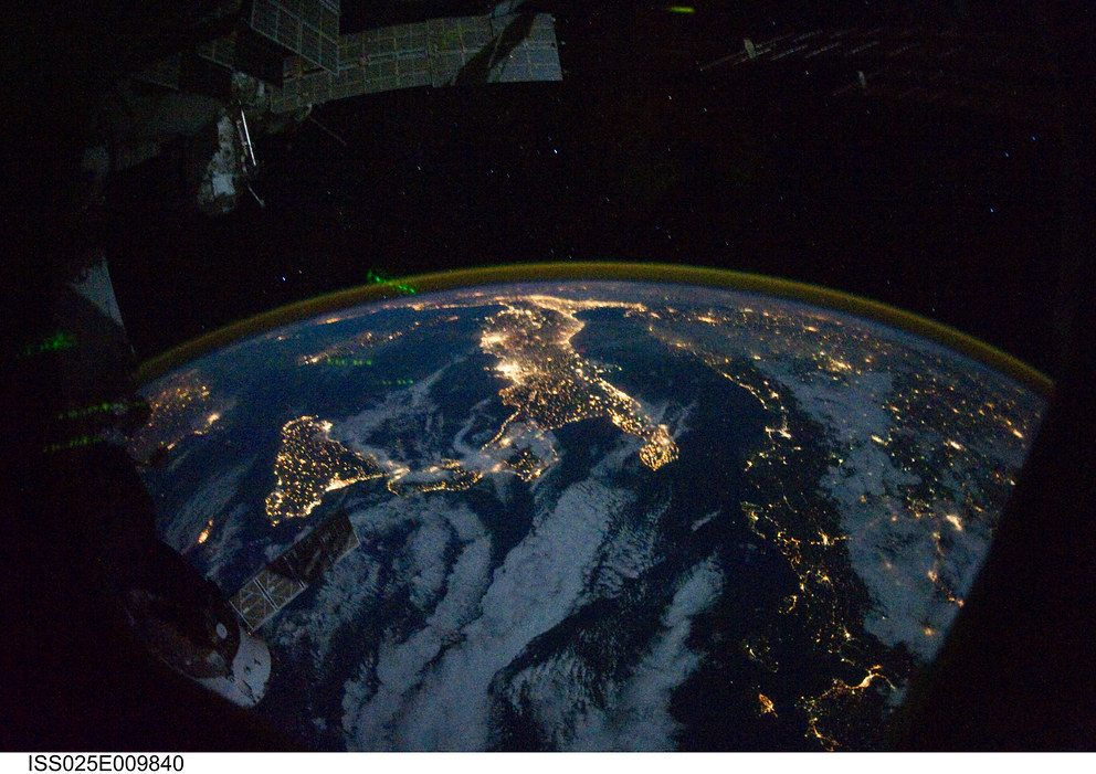 Image of Europe and Africa at night from Marshall Space Flight